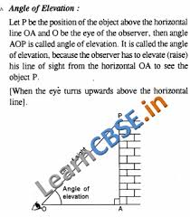 some applications of trigonometry notes cbse class 10 maths