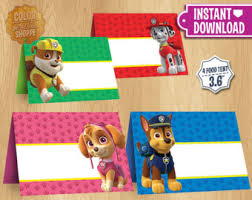 paw patrol table tents instant download customizable food
