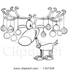 clipart of a reindeer with ornaments on his