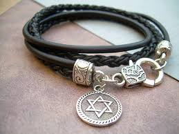 religious bracelet of david leather bracelet of david judaica womens