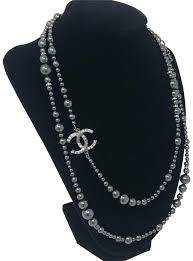crystal pearl necklace images Chanel grey crystal pearl necklace tradesy jpg
