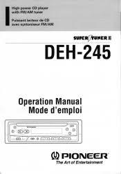 pioneer deh 245 manual