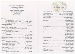 wedding ceremony bulletin wedding program sle template business