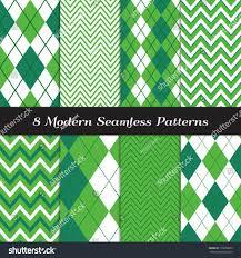 emerald green argyle chevron seamless patterns stock vector