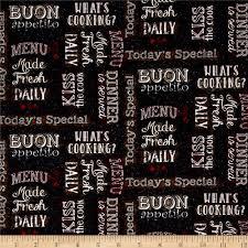 buon appetito chalkboard words charcoal discount designer fabric