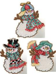 cross stitch stitched tumbling snowmen free cross