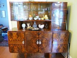 funiture art deco brown wooden china cabinet and buffet using