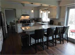 l shaped kitchen ideas designs with breakfast bar brown varnished