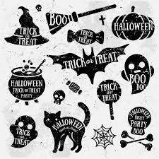 set of halloween characters with text inside grunge typographic