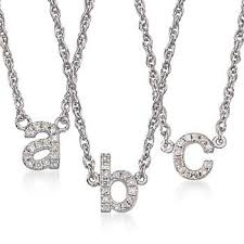 Initials Necklace Silver Ross Simons Diamond Accent Mini Initial Necklace In Sterling