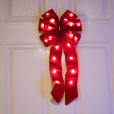 battery operated lighted christmas bows mr light christmas christmas bows pre lit red fabric bow