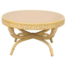 Leather Top Coffee Table 1940s Grosfeld House Style Cocktail Table With Greek Key Motif And