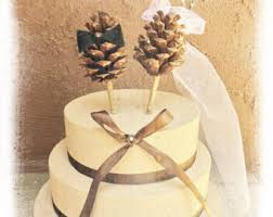 fall wedding cake toppers pinecone cake topper etsy