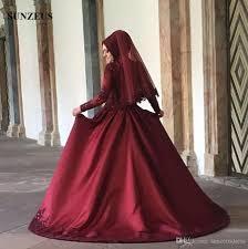 wedding dress maroon sleeve muslim wedding dress high neck burgundy bridal dresses