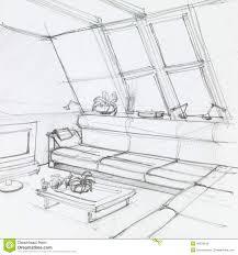 Living Room Clipart Black And White Attic Living Room Stock Illustration Image 42978518