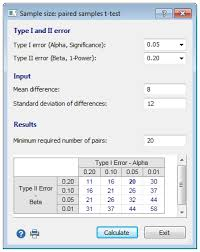 sample size calculation paired samples t test