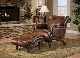 Leather Chair furniture dark brown leather chair and ottoman with chic rug and