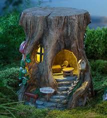 miniature garden solar staircase stump house miniature