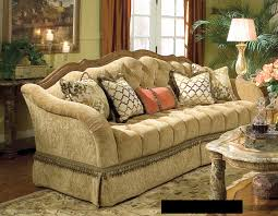 classy valencia wood trim tufted sofa with curved back as well as