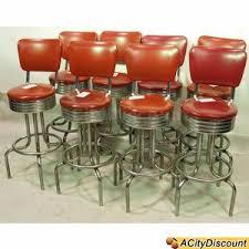 2nd hand bar stools used 8 restaurant padded retro red vinyl chrome bar stool chairs
