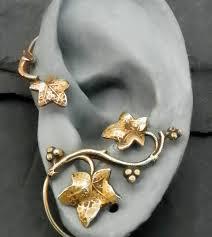 ear wrap golden leaf ear wrap autumn intricate fall brass ear