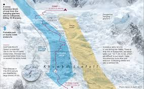 Map Of Nepal And Tibet by Mapping The Killer Path Of The Everest Avalanche