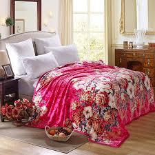 cozzy blooming folwers plush velvet blanket for bed sofa