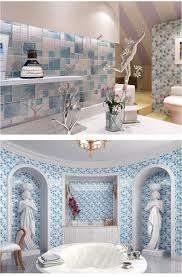 Blue Glass Kitchen Backsplash Wall Decor Mirrored Tile Backsplash Sticky Backsplash Tile