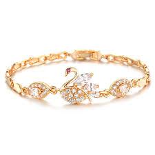 gold hand bracelet images Beautiful swan bracelet female gold color crystal hand jewelry jpg