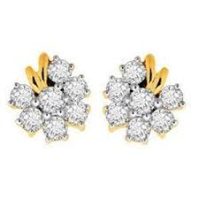 real gold earrings avsar real gold and diamond pressure set earring ave032 gold