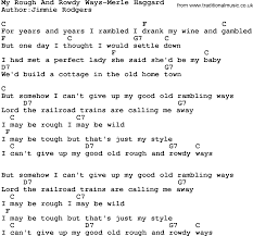 country music my rough and rowdy ways merle haggard lyrics and chords