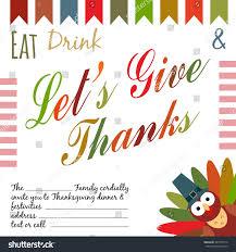thanksgiving invitation card flyer template family stock vector