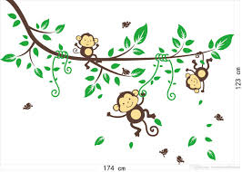 cartoon naughty monkey wall sticker baby monkeys the jungle wall stickers all kinds includes christmas sticker the avengers jurassic park dinosuars series china post airmail free shipping