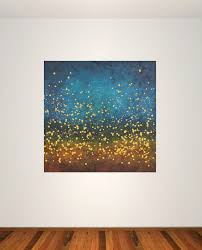 large modern abstract painting blue yellow stars night sky