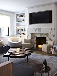 luxury living room decoration with recessed tv wall mount above