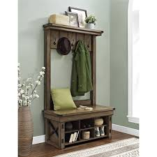 hall tree with storage bench rustic grey shoe coat rack for