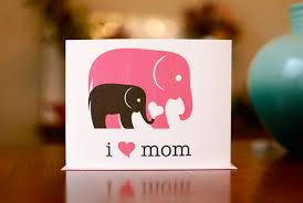 i heart mom new baby card gray u0026 pink elephants 100