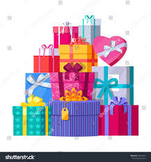 christmas present boxes big pile colorful wrapped gift boxes stock vector 486594790