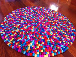 Non Toxic Rugs Felt Ball Rug Multicoloured Little Village Boutique Unique