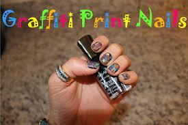 bedazzles after dark nail art street style graffiti print nails