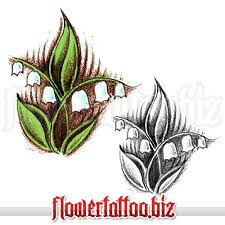 lily of valley on leaf as tattoo