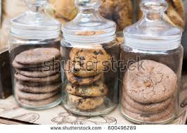 desserts choice cookies biscuits glass jars stock photo 490086187