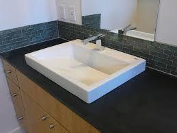 Bathroom Sink Backsplash Ideas Gallery Silver Mini Glass Subway Tile Bathroom Sink