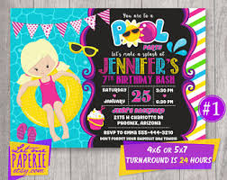 pool party invitations pool party invite etsy