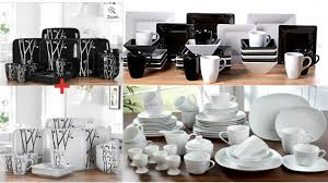 black white square stoneware dinner set tea service