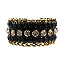luxury chain bracelet images Impero london swarovski crystal black leather luxury chain cuff jpg