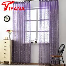 Purple And White Curtains Cherry Tree Korean Pastoral Embroidery Window Screens Luxury
