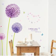 removable i miss you dandelion flower butterfly art wall stickers