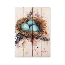 robins nest watercolor on wood bird art print bird home