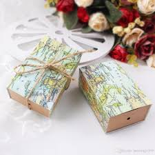 vintage wedding favors 2017 vintage wedding candy box kraft paper world map gift bag for
